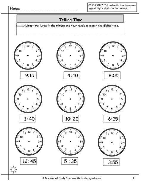 clock worksheets nearest 5 minutes telling time worksheets from the teacher s guide