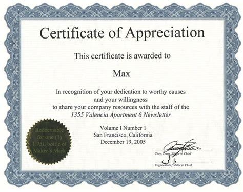 Certificate Templates Certificate Of Appreciation Template Word