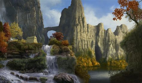 mountain landscape with waterfall wallpapers and images