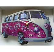 Pink Flower VW Camper Van Clock