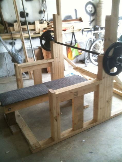 wooden exercise bench this is a sweet diy squat rack garage gym pinterest