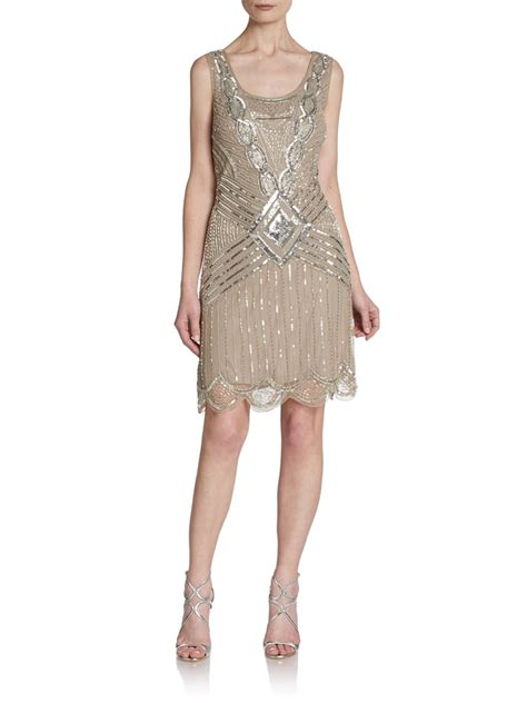 beaded papell dress papell beaded cutout dress in beige grey taupe