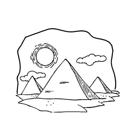 Coloriage Paysage D Egypte Et Ses Pyramides A Imprimer Gratuit