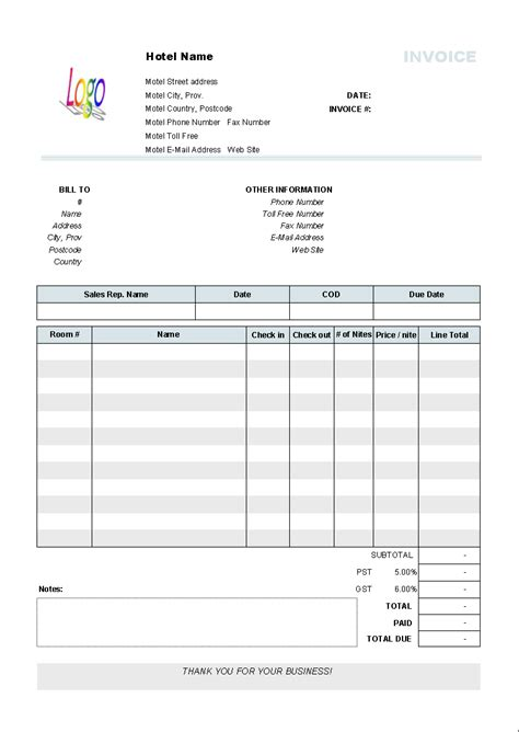 hotel receipt template doc hotel invoice template invoice software