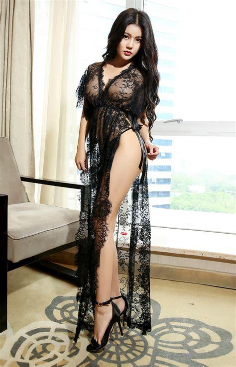 Black Sleep Wear Transparant V Neck With G Strin transparent dress promotion shop for promotional