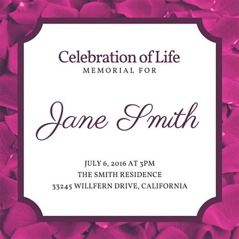 Customize 40 Funeral Invitation Templates Online Canva Celebration Of Invitation Template