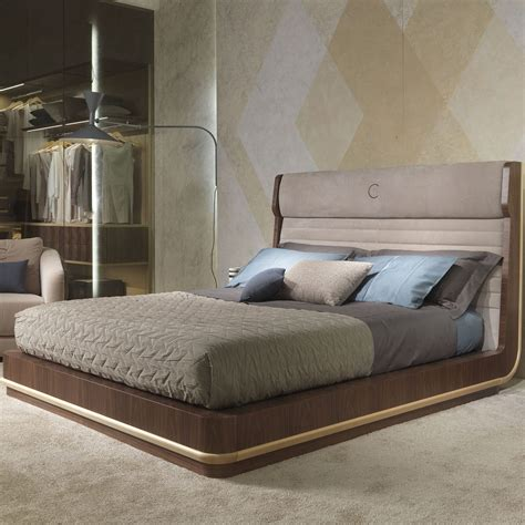 double bed contemporary wooden with upholstered headboard