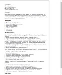e resume template professional electronic assembler templates to showcase