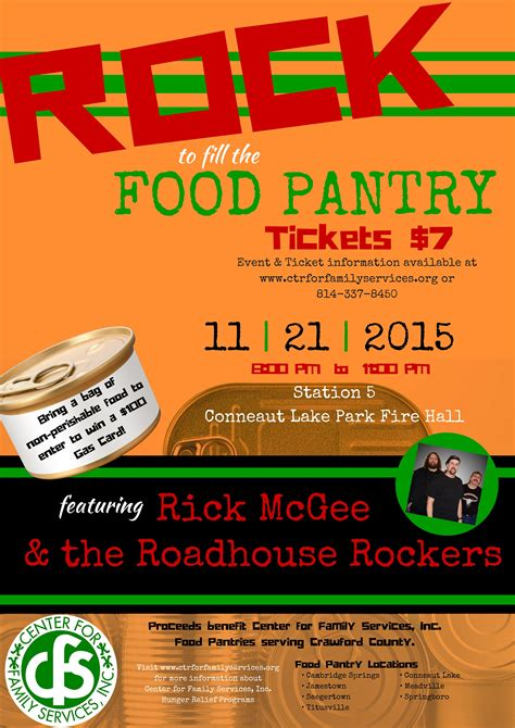 Food Pantry Rock rock to fill the food pantry center for family services