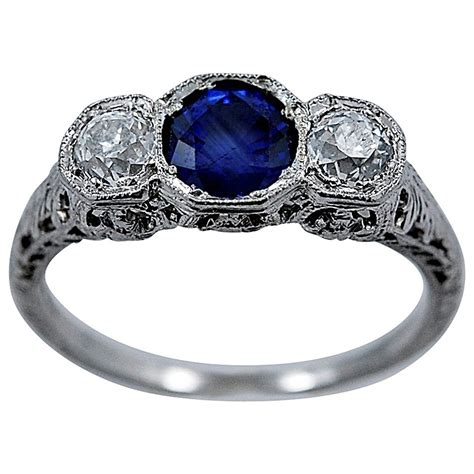 deco and sapphire engagement rings delightful deco sapphire engagement