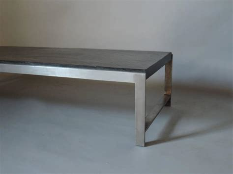 Slate Coffee Table For Sale Large 1970s Metal And Slate Coffee Table For Sale At 1stdibs