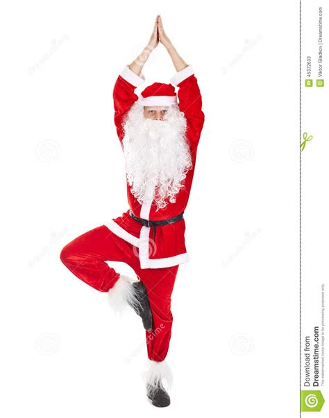 santa claus doing yoga exercise stock photo image 45372633