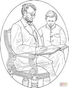 abraham lincoln with his son coloring online super coloring