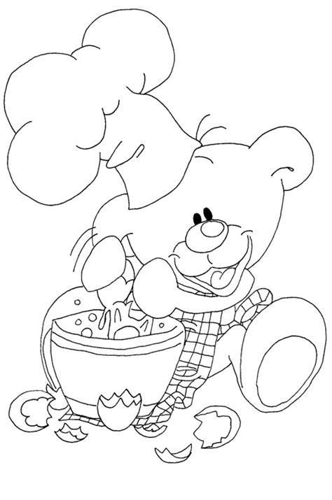 Coloriage Ours Cuisinier dessin gratuit à imprimer