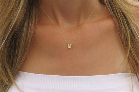 Kalung Choker Simple tiny gold initial necklace gold letter necklace by
