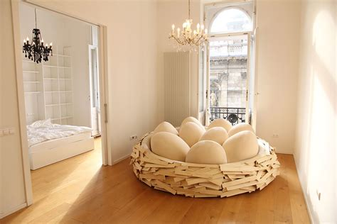 bird bed giant birdnest wooden bed filled with soft egg shaped