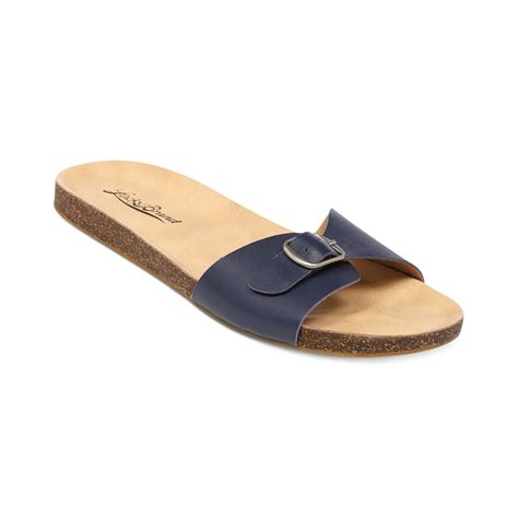 slide in sandals lucky brand womens dolliee flat slide sandals in blue
