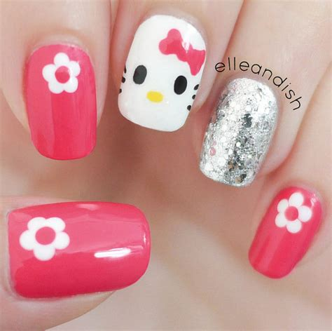 nail art tutorial hello kitty french tips easy hello kitty nails freehand nail art by elleandish