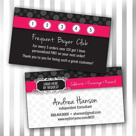 scentsy frequent buyer card template thirty one business card template sided