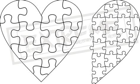 printable heart puzzle template heart jigsaw puzzle template collection dxf eps svg zip file