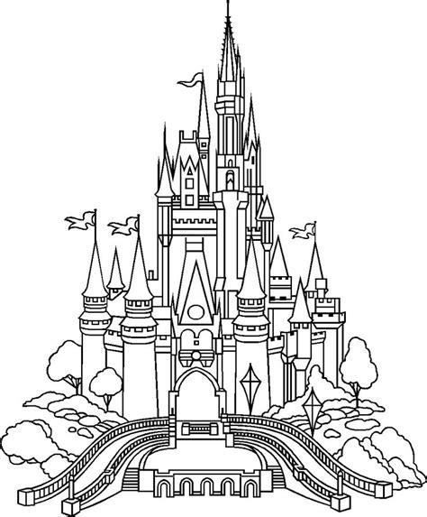 magic castle coloring page cinderella castle outline castle of disney world click