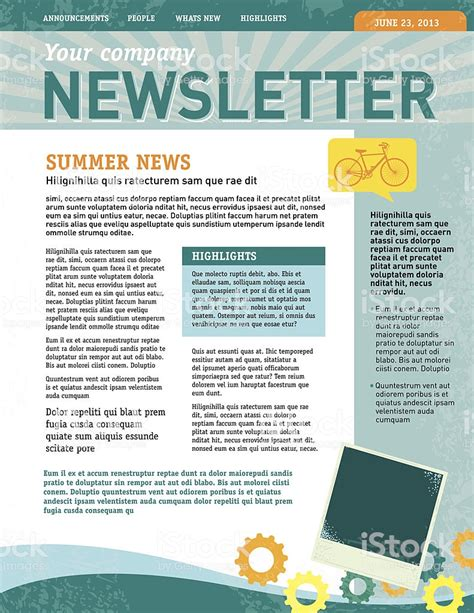 Company Newsletter Design Template Stock Vector Art More Images Of Bicycle 483691389 Istock Newsletter Design Templates