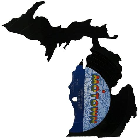 Michigan Records Michigan Silhouette Vinyl Record Records Redone