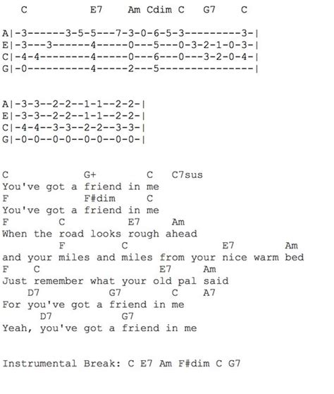 strumming pattern for you ve got a friend in me you ve got a friend in me ukulele chords and tab music