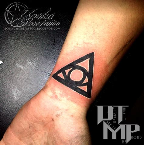 triangle eye tattoo awesome black ink triangle eye on wrist