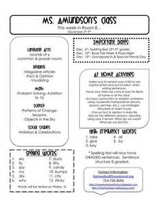 Classroom Weekly Newsletter Template by A Tale Of Grade Weekly Newsletter 1st Grade