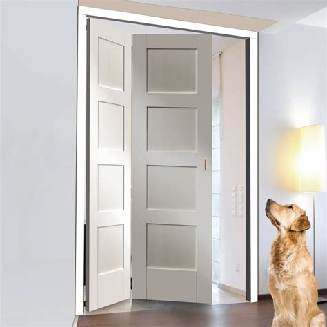 freefold white shaker  panel style folding  door set height mm width mm