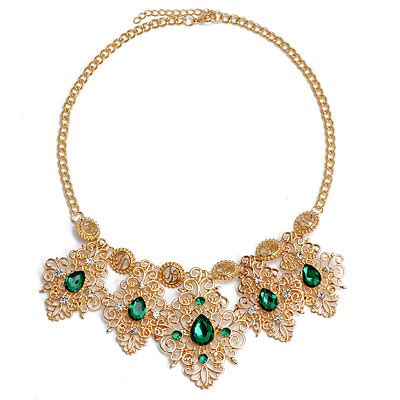 magniloquent green decorated hollow out design alloy bib necklaces asujewelry