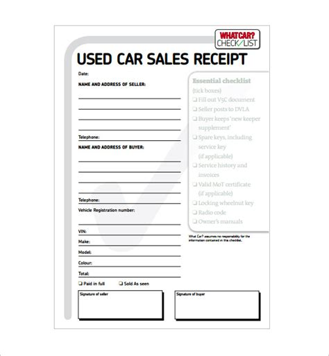 Free Receipt Template For Car Sale 13 car sale receipt templates doc pdf free premium