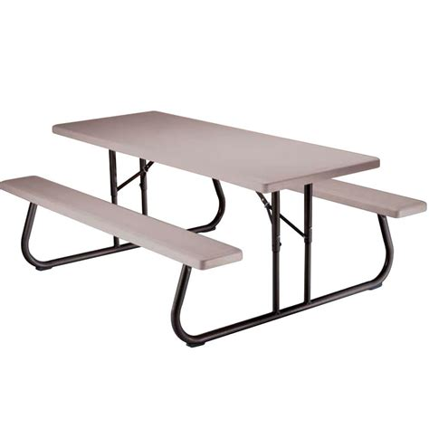 Folding Bench Picnic Table Folding Picnic Table 6 Foot Putty Lifetime 22119 Picnic Tables Cing World