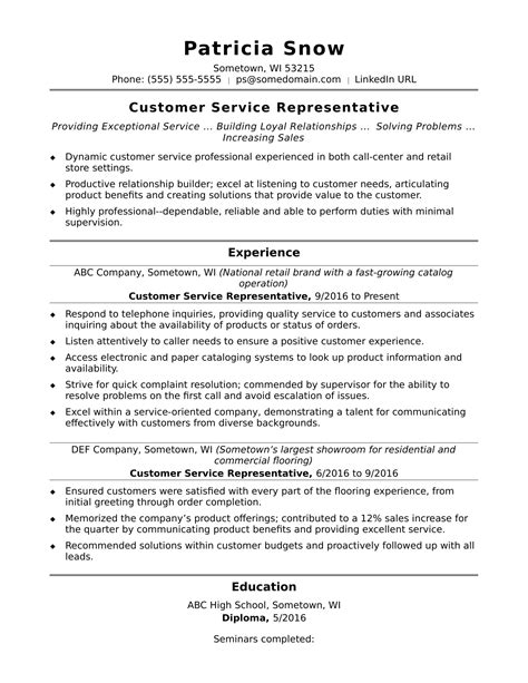 Resume For Entry Level Customer Service Representative Customer Service Representative Resume Sle