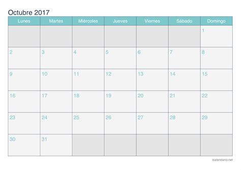 Calendario De Octubre 2017 Calendario Octubre 2017 Para Imprimir Icalendario Net