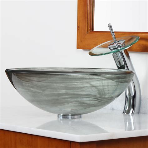 Bathroom Bowl Sink Elite Layered Tempered Glass Bowl Vessel Bathroom Sink Reviews Wayfair