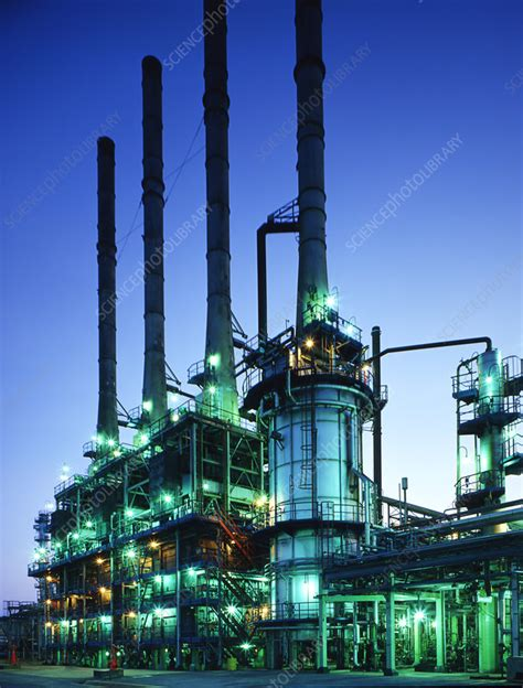 steam cracker   oil refinery stock image  science photo library