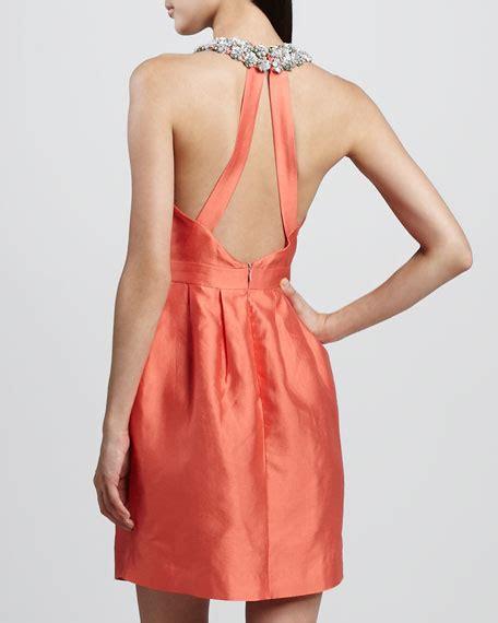 Helen Halter Neck Dress raoul helen bejeweled halter dress
