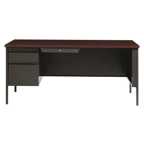 Single Pedestal Computer Desk In Charcoal And Mahogany 20099 Mahogany Computer Desk