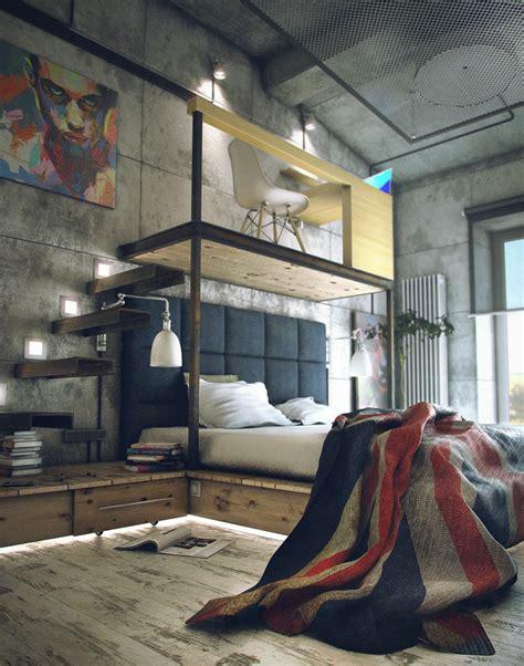 lofted bedroom casual loft style living
