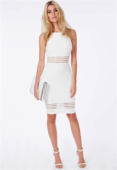White Dress Pantai S strappy mesh detail midi dress white dresses midi dresses missguided