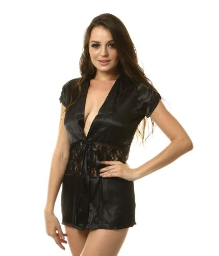 Black Of Nezia Nightdress Gstring lace satin robe nightgown one size black shopping tomtop
