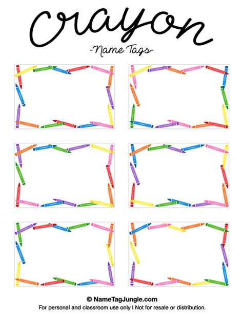 printable art tags free printable crayon name tags the template can also be