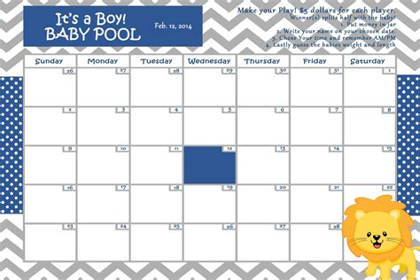 baby pool calendar template baby shower guess the due date calendar template