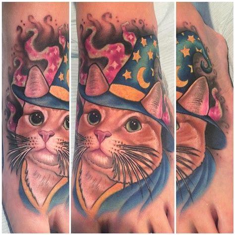 tattoo apple valley ca little cat dressed up like merlin the wizard i tattooed on
