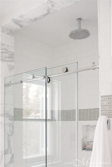 Tile Shower Door Modern Gray Washstand With Gold Mirror Contemporary Bathroom