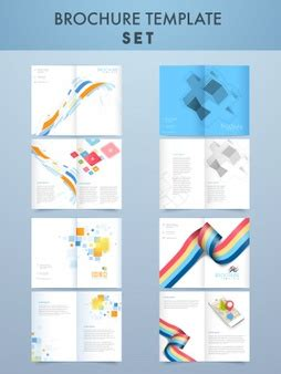 four page brochure template pins map social media icons vector free