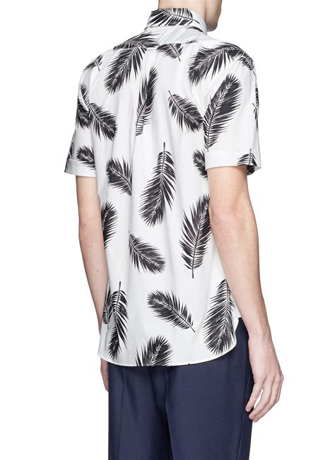 Feather Print Sleeve Shirt lyst ovadia and sons feather print sleeve shirt in