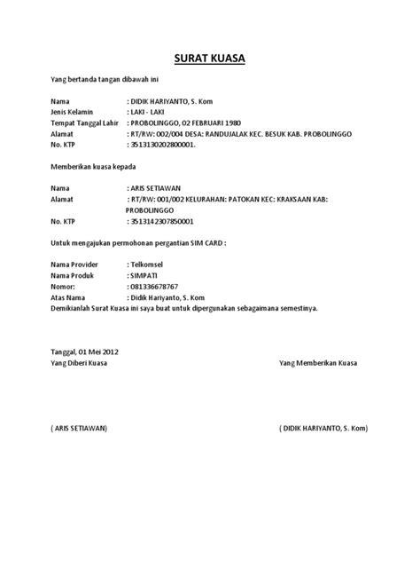 format surat kuasa untuk pengacara surat kuasa